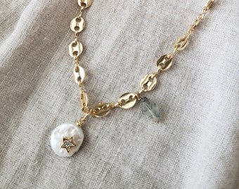 pearl necklace, statement necklace, chunky, charm, tourmalated quartz, kite stone, mariner chain, gift, pave, gold filled chain, pendant