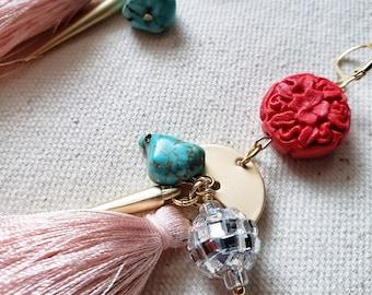 tassel earrings, charm earrings, bold, statement, fashion earrings, costume jewelry, dangle and  drop earrings, unique, gift, turquoise