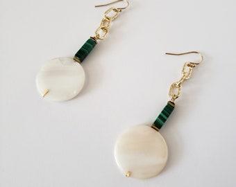 earrings, drop earring, malachite, mother of pearl, shell, gift, gold earring, modern, luxury, gold filled earring, chain earrings,