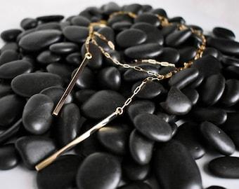 wrap necklace, lariat, choker, tie, minimalist, wrap bracelet, multi wear, travel, bar necklace, transitional, long necklace, gold, gift