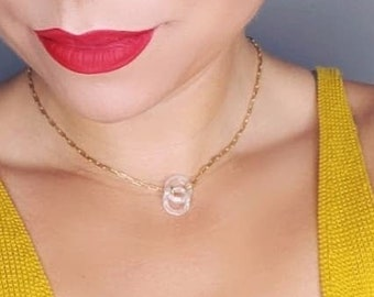 Pendant, Swarovski crystal, circle pendant, lariat necklace, gold filled chain, 18k gold filled, travel, convertible, choker, luxury, bridal