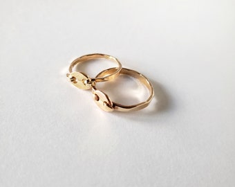 gold rings, nautical, mariner, charm rings, wedding, gift, gold filled, pendant rings, hammered, stackable, midi, bff