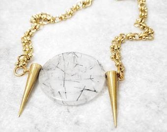gold necklace, spike, quartz necklace, large chain necklace, luxury, tourmalinated, spikes, pendant necklace, karat gold, kazaru, gift, gold
