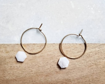 Hoops, gold hoops, charms, earrings, mother of pearl, shell, geometric, dangle earrings, luxury, 14k gold filled, quartz, gifts, crystal