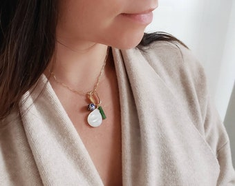 charm necklace, lock, adaptable, pendant, shell, jade, blue ceramic, medallion, gold filled chain, statement necklace, lock necklace, stone,