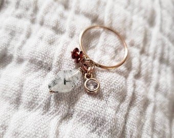 charm ring, dangle ring, gold filled, unique, gift, rose gold, hematite, african bead, striped, cubic zirconia, statement rings, colorful