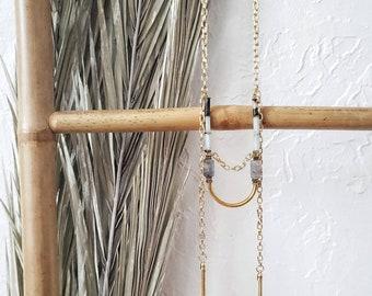 tassel necklace, petra, gems, stone necklace, long necklace, gold chain, amazonite, labradorite, jasper, hematite, arc, bead, dangle, luxury