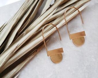 geometric earrings, gold earrings, dangle earrings, silver dangle earrings, brass earring, boho lux, mixed metal, arc earrings, hoops, drop