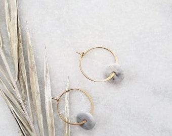 Hoops, gold hoops, marble, charms, earrings, modern, geometric, dangle earrings, luxury, 14k gold filled, howlite, gifts, stone hoops