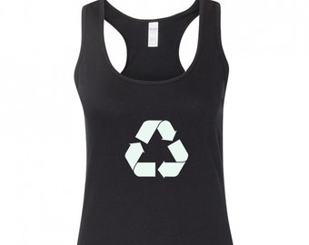 Reuse Earth Environment Boy Beater Tank Top Green Distressed Recycle Symbol