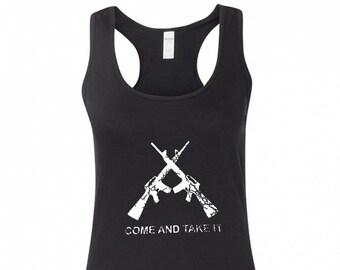 7837ef09dedcb Come and Take It Gun Rights 2nd Amendment Women s Racerback Tank Top