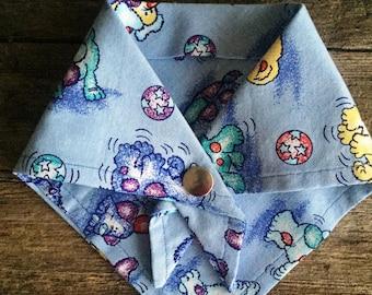 Puppy Bandanna/Blue Playful Pups Design/Dog Bandanna/Snap Closure/Easy-on/Breakaway/Small Fits 10-12 Inches