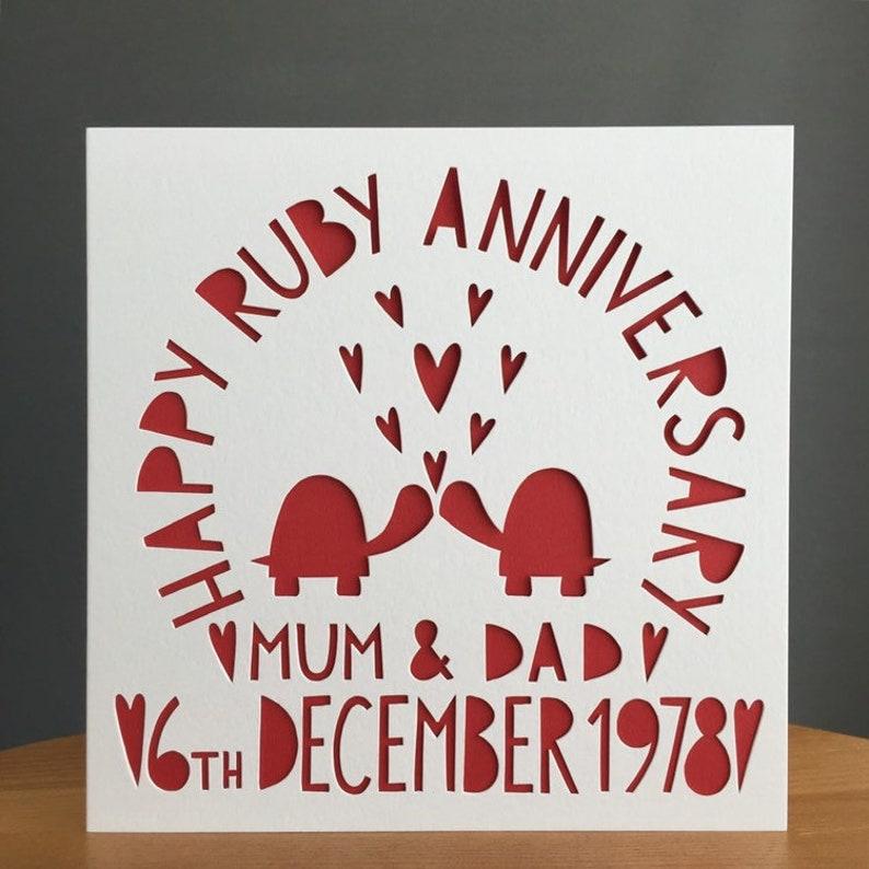 7b86661aa5e25e Turtle Card Mum & Dad Card Anniversary Card Card Ruby | Etsy