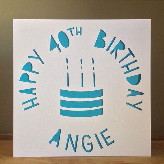Cake Card Personalised Birthday 40th