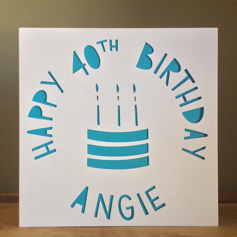 Cake Card Personalised Birthday 40th