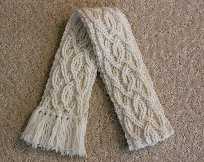 Crochet Scarf Pattern Yorkshire Cable Braided Aran Scarf Etsy