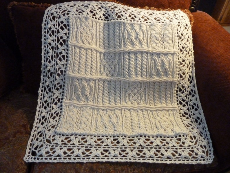 fd7f734d4ff6 Cables and Lace Baby Aran Braided Blanket Crochet Pattern