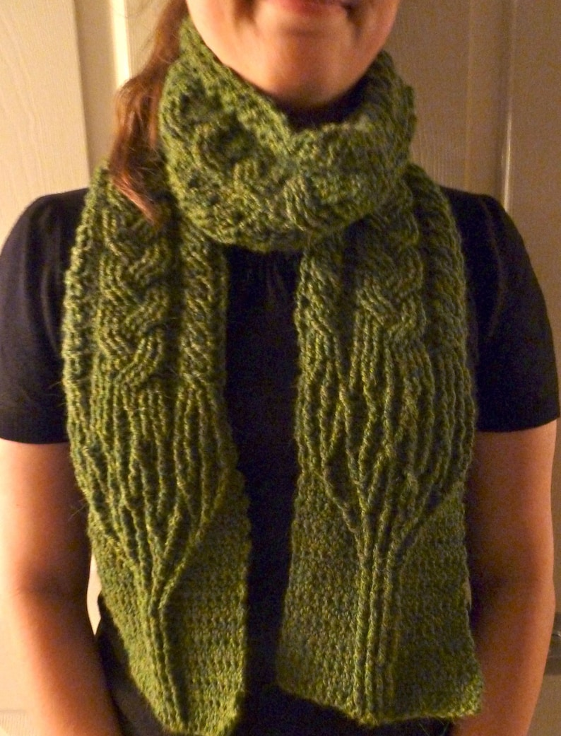 Crochet Scarf Pattern Limerick Tree Braided Cable Scarf Etsy