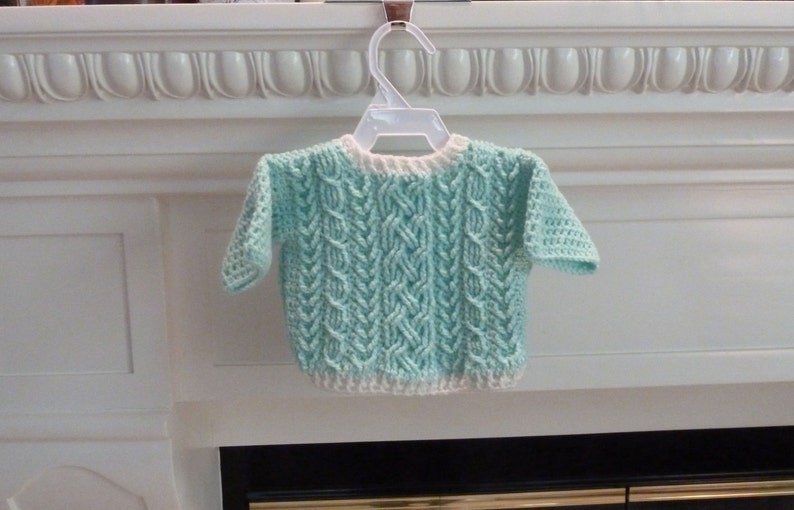 547d78e7bbb8 Inverness Cable Braided Baby Sweater Crochet Pattern for Boys