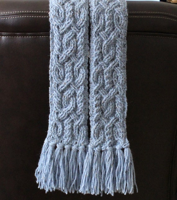 Crochet Scarf Pattern Provence Cable Braided Scarf Crochet Etsy