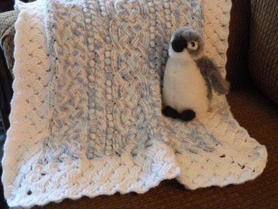 Blue Cloud Baby Cable Braided Aran Afghan Blanket Crochet Etsy