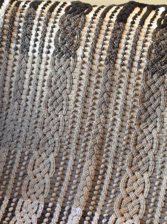 Gradient Cable Braided Crochet Aran Afghan Blanket Pattern, Crochet ...