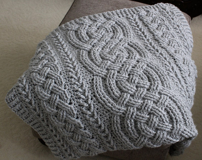 Crochet Blanket Pattern Irish Lullaby Cable Braided Blanket Etsy