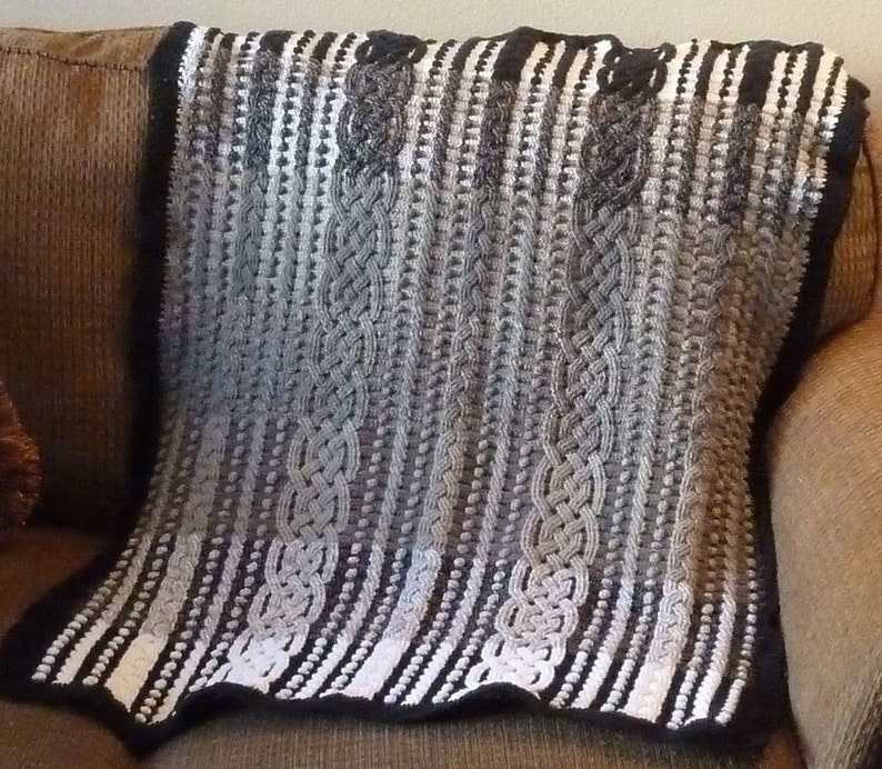 f11134f836 Gradient Cable Braided Crochet Aran Afghan Blanket Pattern