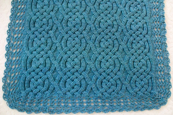Crochet Blanket Pattern Aberdeen Braided Baby Cable Aran Blanket