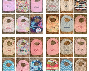 10 Personalized Bibs - Choose fabric!