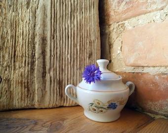 White Porcelain Sugar Bowl Cornflower Summer Garden Table Sugar Bowl Soviet Cottage Kitchen Riga Porcelain Factory RPR