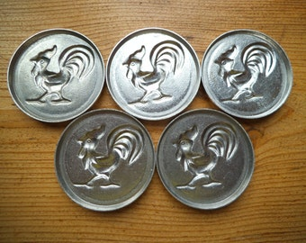 ONE Baking Mold ROOSTER Vintage Tin Forms Pastry Baking Cookies Biscuit Candy Jelly Bakeware Cooking Aluminum Soviet Era Craft Supply