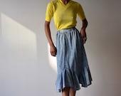 Acid leu denim midi skirt high waist ruffle style lolita
