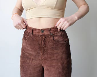 Two fingers snack / velvet leather pants / Vintage / high waisted and straight / chocolate brown suede.