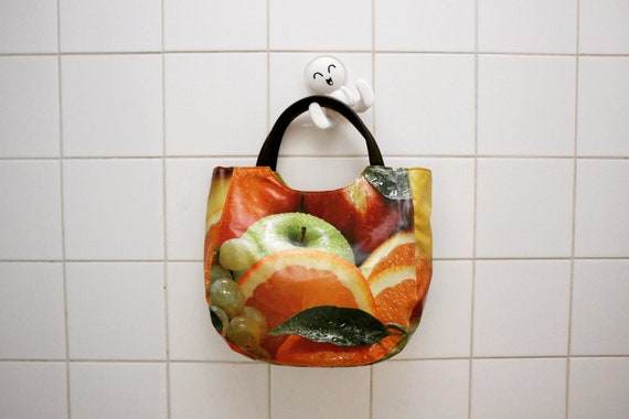 Vintage fruit-print vinyl handbag