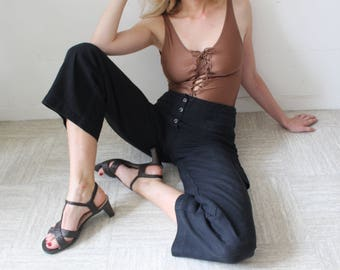 Crossed / BRUNO MAGLI / Vintage 90's Salome sandal / braided Leather Brown / block heel / size 39 / Made In Italy