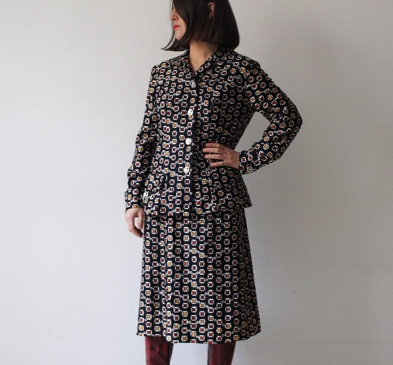 Set jacket and skirt  Black with white geometric print biker  Size S-M