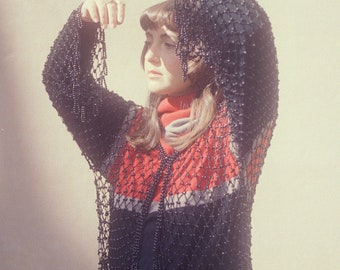 Black long-sleeved crochet and pearl vest with fringe / Size S-M-L