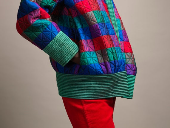 VINTAGE PALM bomber jacket in quilted silk green … - image 5