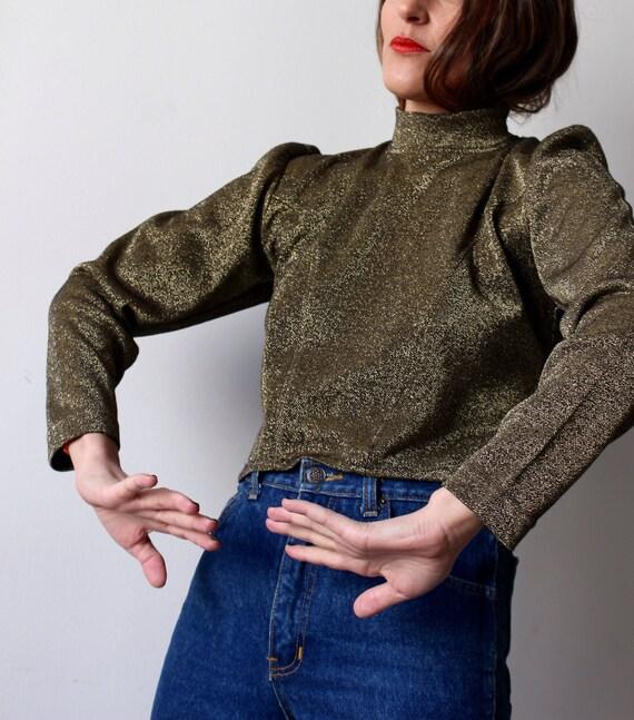 1f7f2980f6 Female soldier   Vintage sweater   Crop Top gold Lurex   high