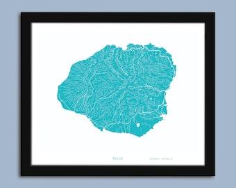 photo about Printable Map of Kauai referred to as Kauai map print Etsy