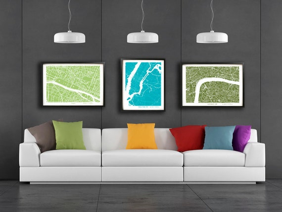 red sofa set and turquoise wall color for incredible.htm any city zoom view city map art print wall art poster etsy  any city zoom view city map art print
