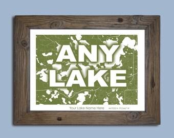 Lake Map, Lake Maps, Custom Lake map, Cabin Decor