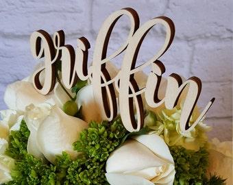Custom Name Cake Topper - UNPAINTED Wooden Monogram Cake Topper - Wedding Cake Topper - Birthday Cake Topper