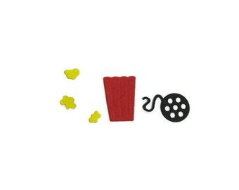 Paper Popcorn Bucket, Popcorn and Movie Reel  Die Cuts set of 30 (30 of each piece shown)