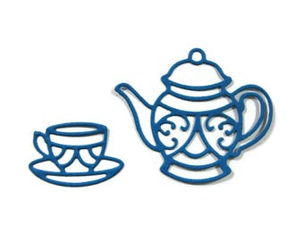 Tea Pot and Tea Cup Paper Cut Outs Set of 30 (15 of each shape)