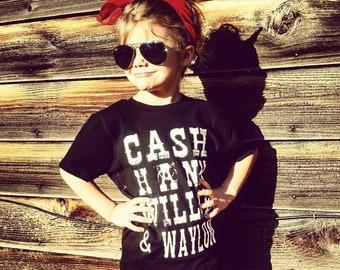Cash, Hank, Willie & Waylon - Black Infant, Toddler and Youth  Shirt - Unisex Fit