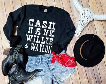 Cash, Hank Willie & Waylon Unisex Crew Neck Sweatshirt