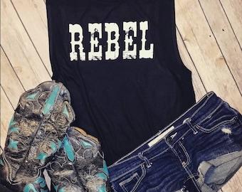 Rebel - Flowy Scoop Muscle Tank Shirt