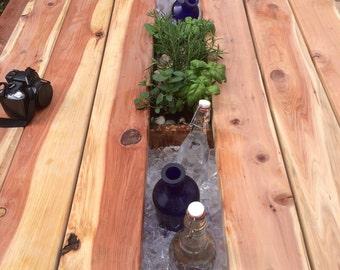 Redwood Planter/Cooler Picnic Table